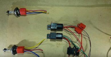Circuito electrico de luces bajas y altas de un vehiculo